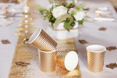 Metalické zlaté kelímky 10 ks, 7,8 x 9,7 cm 731235002