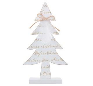 Dřevěný bílý stromeček s mašličkou a pírkem 28 cm 731234836
