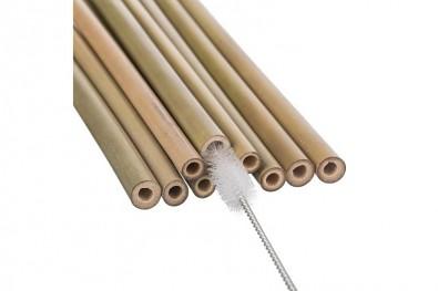 SET 10 x Bambusové brčko 20 cm x 0,9 cm, rovné + čistící kartáček 731240727