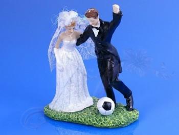 Svatební figurky ženich a nevěsta - fotbal