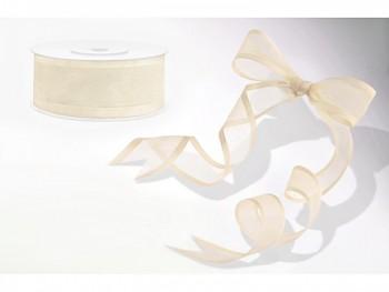 Stuha šifon ivory, šířka 2,5 cm, návin 25 m