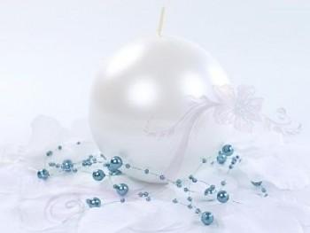 """Svíčka """"Koule"""" 100mm metalická perleťová"""