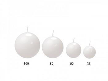 """Svíčka """"Koule""""  60mm  lakovaná bílá"""