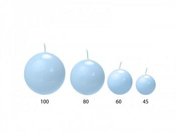 """Svíčka """"Koule""""  80mm lakovaná modrá"""