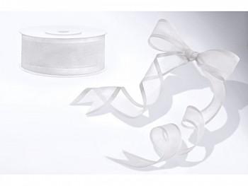 Stuha šifon bílá, šířka 2,5 cm, návin 25 m