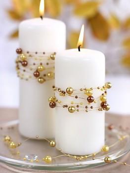 Girlanda perlová,  jemná zlatá