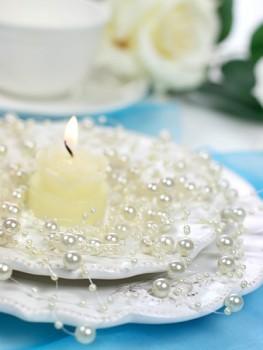 Girlanda perlová,  krémová