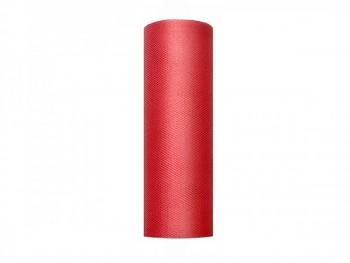 Tyl v roli, červený, šířka 15 cm, návin 9 m