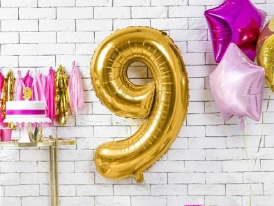 Foliový zlatý balónek číslice 9, 86 cm 731232823