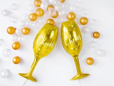 BALÓNEK fóliový Sklenice zlatá Cheers 731246585