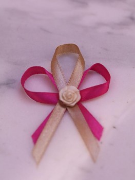 Svatební vývazky, tm. růžové s kytičkou 731256733