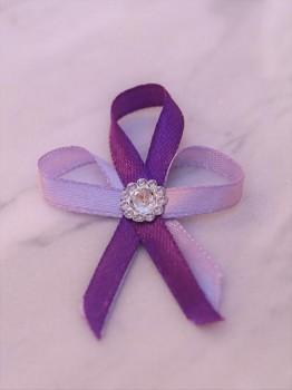 Svatební vývazky, fialové s kytičkou 731256833