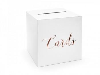 Svatební box na přání s růžovo - zlatým nápisem 731230299