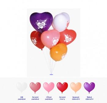 Balónek srdce červený pastelový s potiskem LOVE YOU