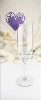 Jmenovka na skleničku - srdíčko fialové