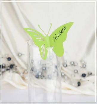 Svatební jmenovka na skleničku motýlek