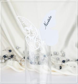 Motýlková jmenovka na skleničku bílá