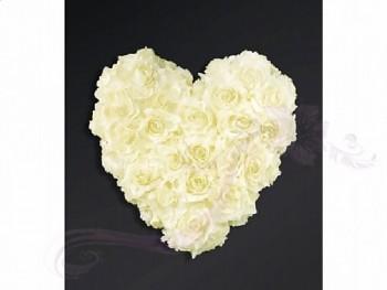 Ozdoba na auto srdce prázdné, 40cm, ivory