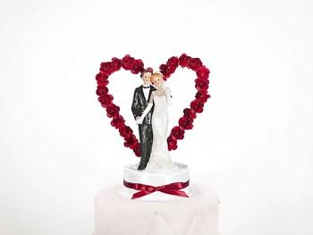 Figurka novomanželé na dort  15cm, bílo-bordó