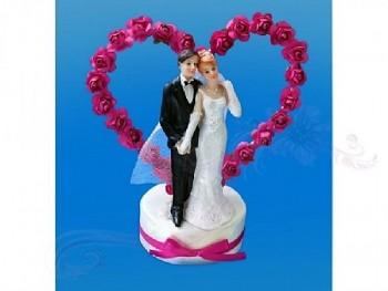 Figurka novomanželé na dort  15cm, ivory