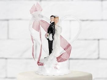 Svatební figurky ženich a nevěsta    bílo-bordó