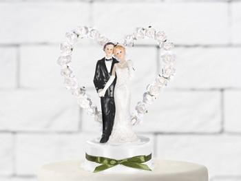 Figurka novomanželé na dort  15cm, bílá