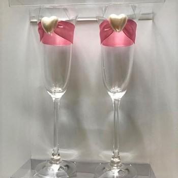 Skleničky na šampus s růžovou stuhou