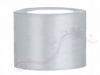 Saténová stuha, stříbrná  50mm/25m