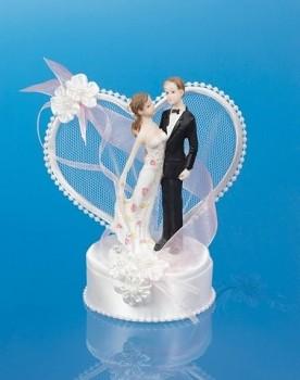 Svatební figurky ženich a nevěsta    bílo-růžová