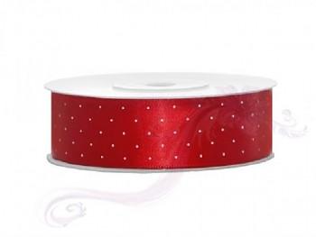 Saténová stuha puntík,červená , šířka 2,5 cm, návin 25 m