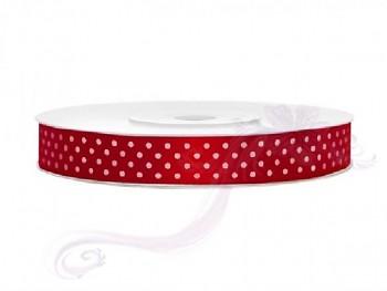 Saténová stuha puntík,červená , šířka 1,2 cm, návin 25 m