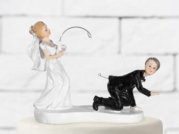 Svatební figurky ženich a nevěsta s prutem
