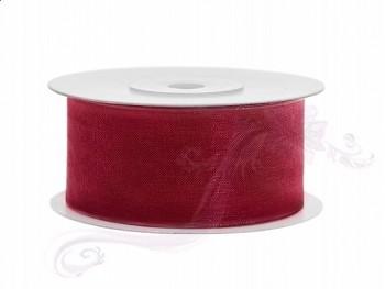 Stuha šifon červená, šířka 3,8 cm, návin 25 m