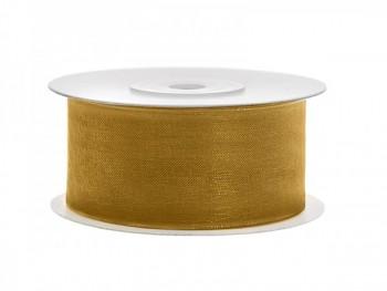 Stuha šifon zlatá, šířka 3,8 cm, návin 25m