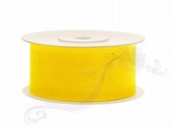 Stuha šifon žlutá, šířka 3,8 cm, návin 25 m