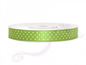 Saténová stuha puntík, zelené jablko, šířka 1,2 cm, návin 25 m