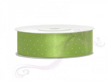 Saténová stuha puntík, zelené jablko, šířka 2,5 cm, návin 25 m