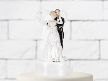 Figurka novomanželé na dort  17cm, bílá