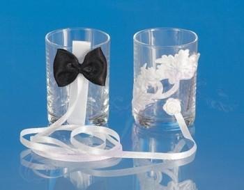 Svatební panáky na vodku černo-bílá aplikace
