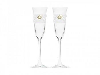skleničky na šampaňské bílo-zlatá