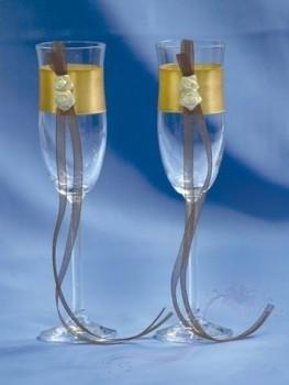 skleničky na šampaňské hnědo-zlatá
