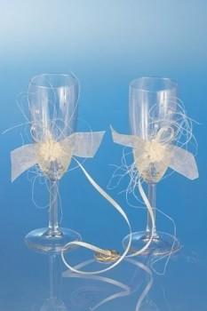 skleničky na šampaňské s aplikací květů