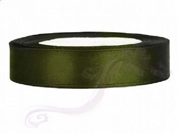 Saténová stuha, lahvově  zelená, 25mm/25m