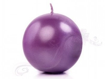"Svíčka ""Koule"" 80mm metalická  purpurová"