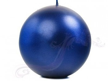 """Svíčka """"Koule"""" 100mm metalická královská modrá"""