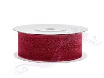 Stuha šifon červená, šířka 2,5 cm, návin 25 m