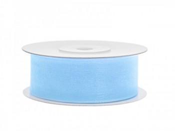 Stuha šifon sv. modrá, šířka 2,5 cm, návin 25 m