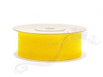 Stuha šifon žlutá, šířka 25 cm, návin 25 m