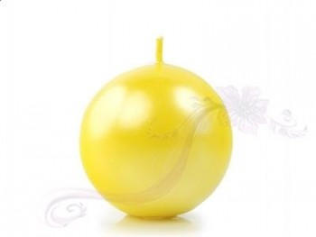 "Svíčka ""Koule"" 60mm metalická  žlutá"