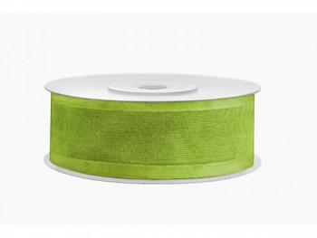 Stuha šifon zel. jablko, šířka 2,5 cm, návin 25 m